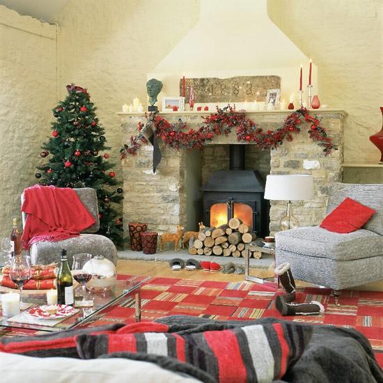 Rustic Christmas living room | Living room designs | image | Housetohome.co.uk