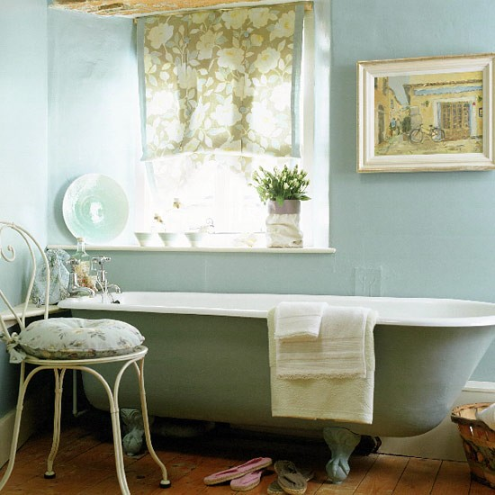 French country bathroom bathroom idea freestanding for Images of country bathrooms