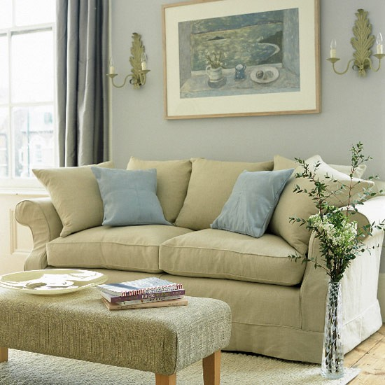 pastel living room with painting sofa and stool farmhouse kitchen housetohome co uk