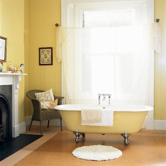 Yellow bathroom | Bathroom idea | Curtain | Image | Housetohome.co.uk