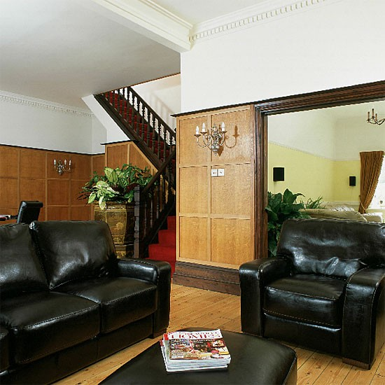 Decorating Ideas > Panelled Living Room With Black Leather Sofa And Chairs  ~ 165136_Living Room Ideas Homebase