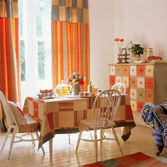 Living Room Area With Bright Patterned Accessories