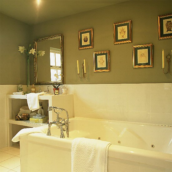 luxury bathroom in traditional greens