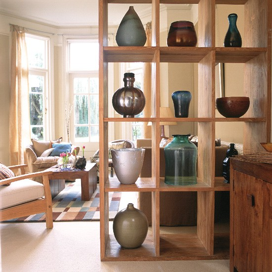 Kitchen Shelves Habitat: Neutral Room With Wooden Unit Displaying Vases