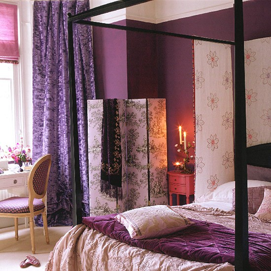 Purple Bedroom With Black Four-poster Bed And Screen