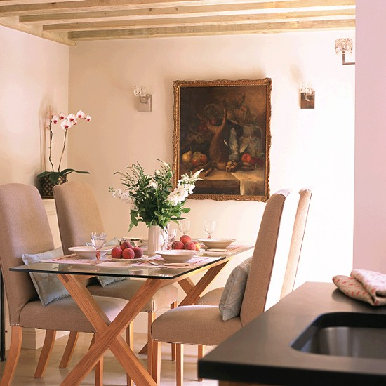 Cottage Dining Area With Trestle Table Chairs And Painting