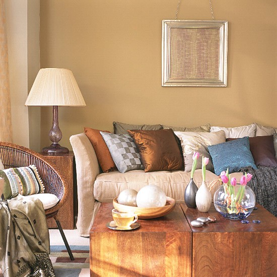 Neutral living room with sofa wooden furniture and for Modern country living room