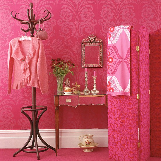 Pink dressing room with patterned wallpaper screen and for Victoria secret bathroom ideas