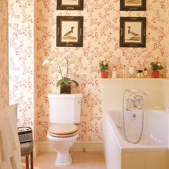 Bathroom With Red Patterned Wallpaper Tongue And Groove