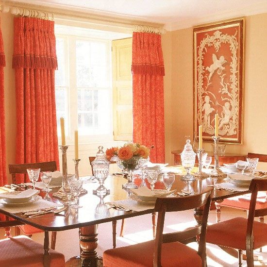 Dining room with antique furniture grand curtains and for Georgian dining room ideas
