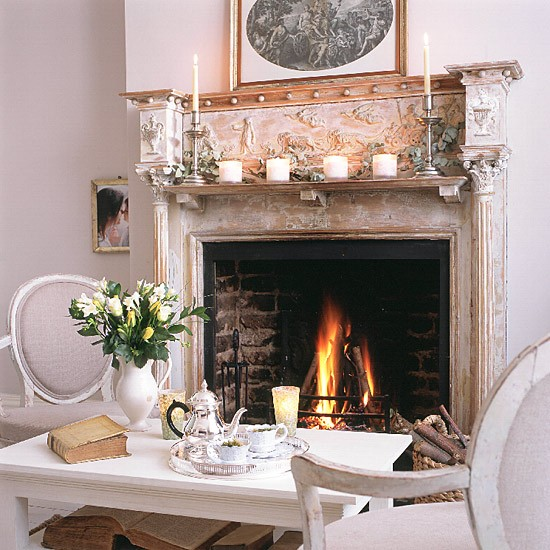Living room with fireplace | Fireside seating area | Rustic design | Image | Housetohome.co.uk