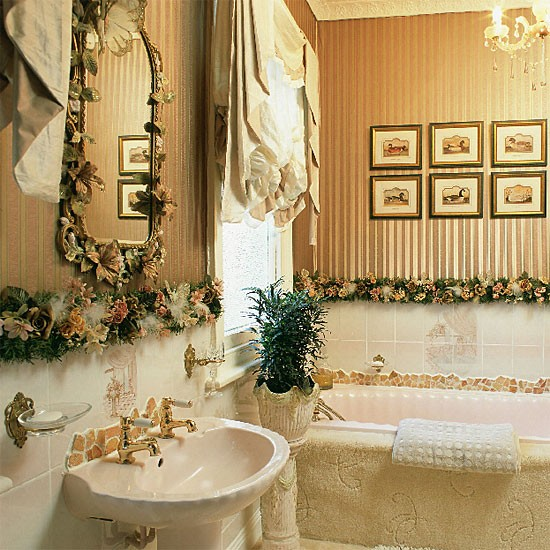 Striped bathroom | Bathroom idea | Bronze wallpaper | Image | Housetohome.co.uk