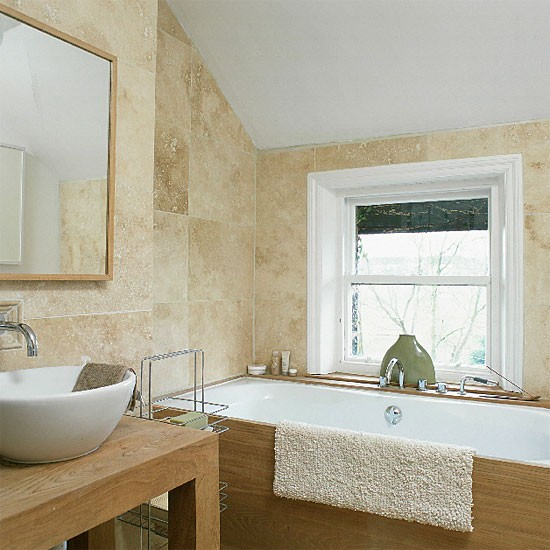 Stone-tiled bathroom | Tiled bathroom | Image | Housetohome.co.uk