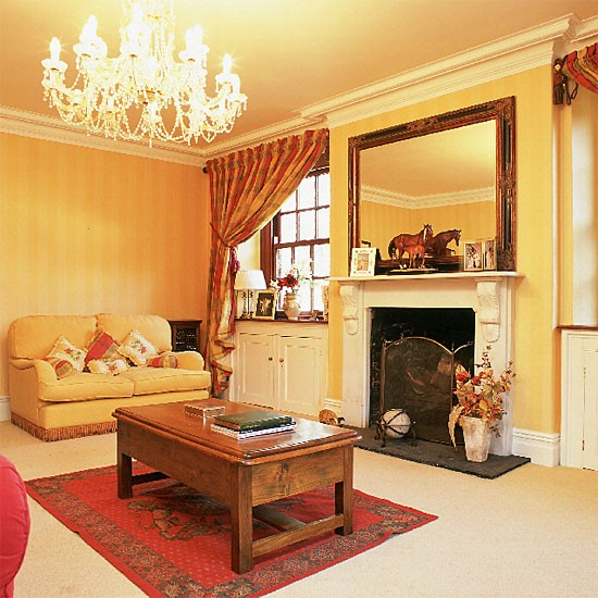 Yellow Traditional Living Room