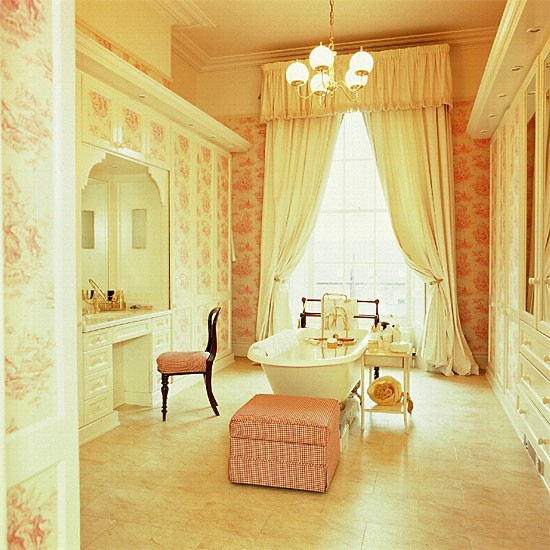 Toile de jouy bathroom | Bathroom idea | Fitted wardrobes | Image | Housetohome.co.uk