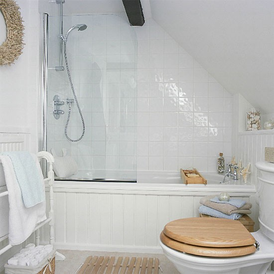 White Loft En Suite Bathroom Bathroom Vanities Decorating Ideas