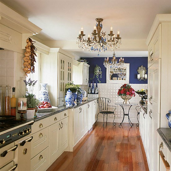 Blue and white galley kitchen kitchen decorating for Tiny galley kitchen ideas