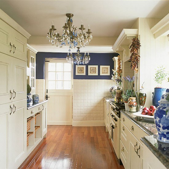 Blue and white galley kitchen kitchen design for Galley kitchen designs photos