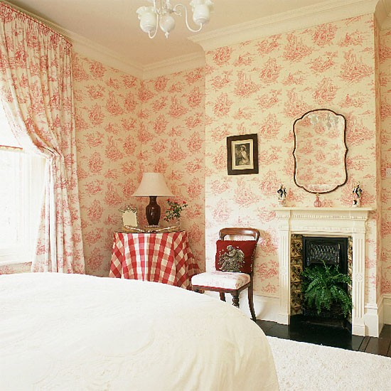 Bathroom Wallcovering French Toile Room Decor Bathroom: French-style Bedroom