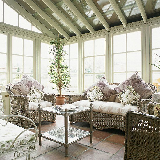 Victorian Conservatory With Wicker Furniture Housetohome