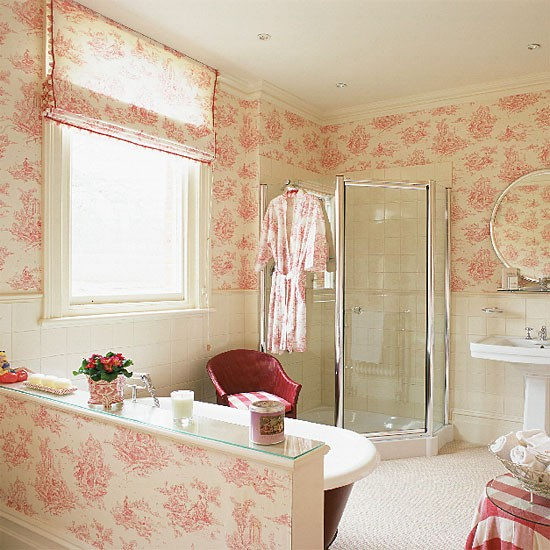 French style ensuite bathroom bathroom idea toile for French style bathroom design
