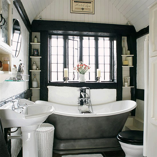 Small monochrome period bathroom | Bathroom idea | Freestanding bath | Image | Housetohome.co.uk