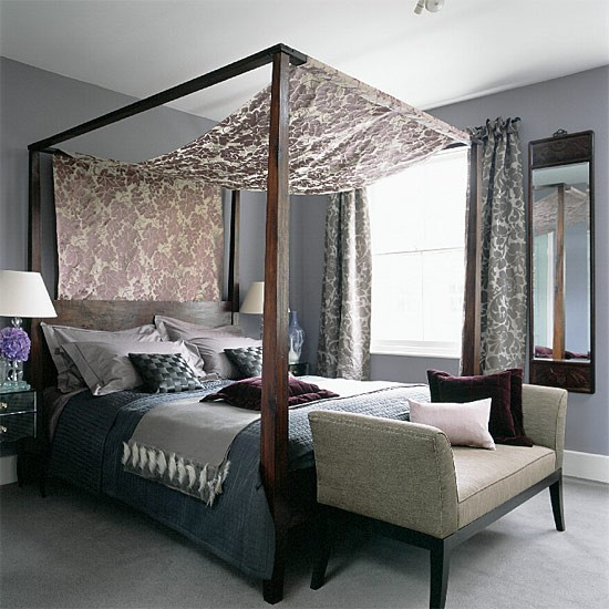 Four-poster bedroom with silks and velvets | housetohome.co.uk