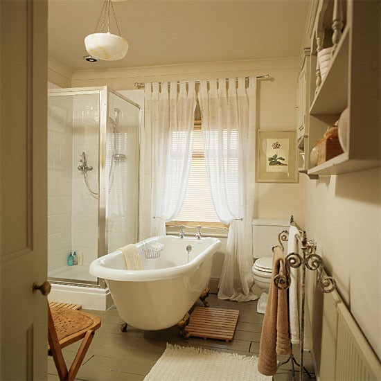 Soothing olive bathroom | Bathroom idea | Curtains | Image | Housetohome.co.uk