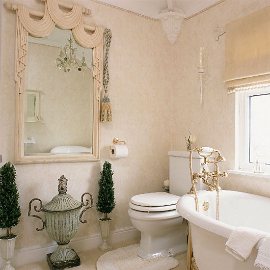 bathroom with greek style urns