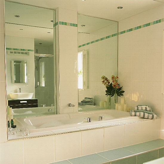 Small Bathroom White Bath Mirrors And Green Tiles