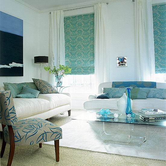 Patterned living room | Blue scheme | Image | Housetohome.co.uk