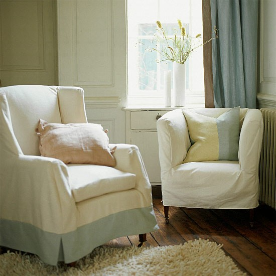 Armchairs covered in linen | Living room furniture | Decorating ideas | Image | Housetohome.co.uk