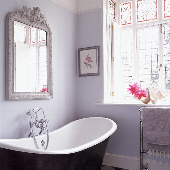 lilac grey bathroom with antique mirror