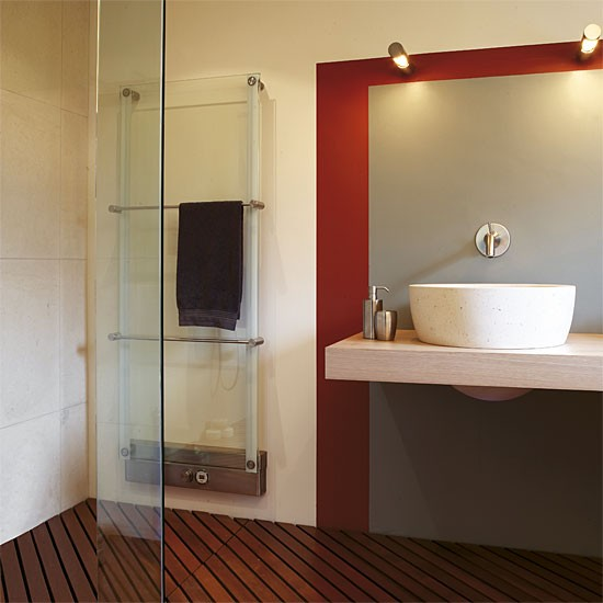 Contemporary shower room | Red accents | Image | Housetohome.co.uk