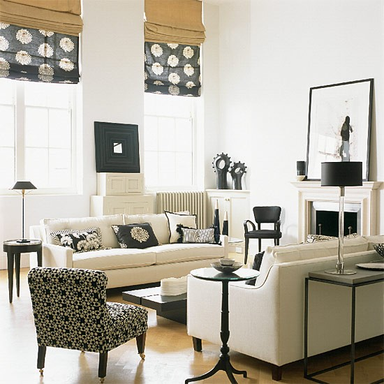 Living room with modern furniture and monochrome - Contemporary chairs for living room uk ...