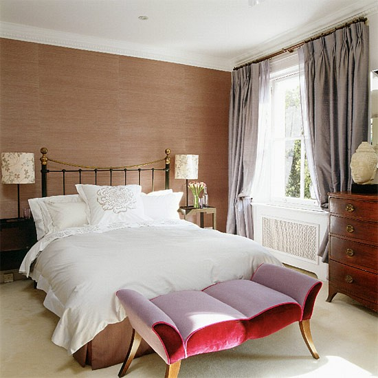 Contemporary Bedroom With Brown Wallpaper