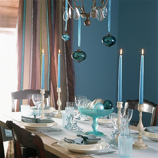 Blue Christmas dining room | Dining room furniture | Decorating ideas | Image | Housetohome
