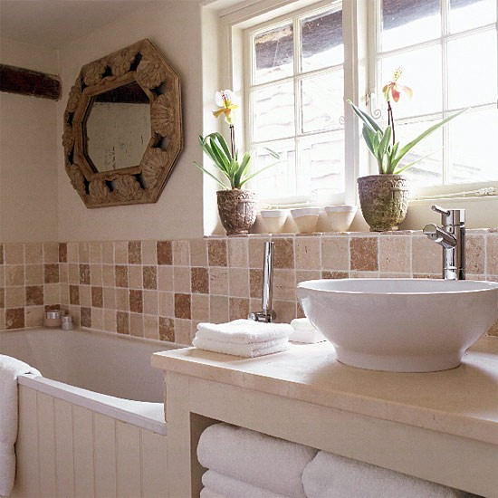 Small neutral bathroom with brown tiles and contemporary for Country cottage bathroom design ideas