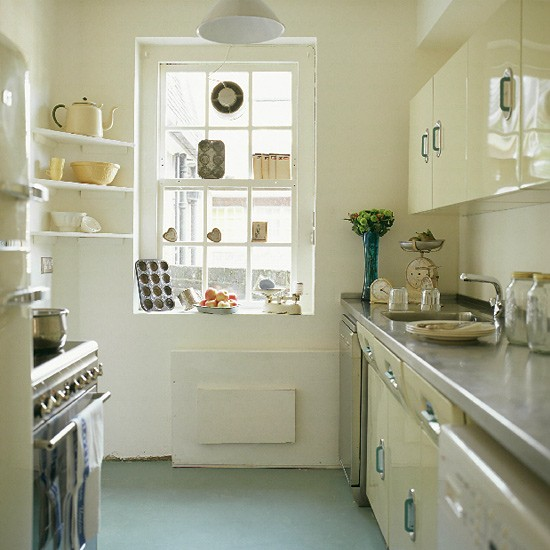 Kitchen with 1950s units and modern appliances for Vintage kitchen units uk