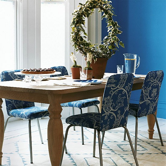 Blue patterned dining room | Dining room furniture | Decorating ideas | Image | Housetohome