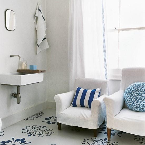 Blue patterned bathroom | Bathroom idea | Flooring | Image | Housetohome.co.uk
