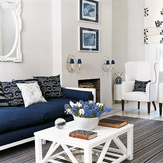 navy blue and white living room design new england