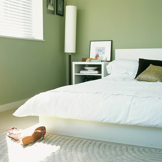 modern green bedroom neutral tones