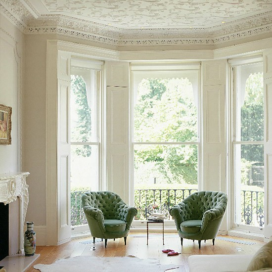 Living Room Large Windows: Living Room With Vintage Furnishings And Large Windows