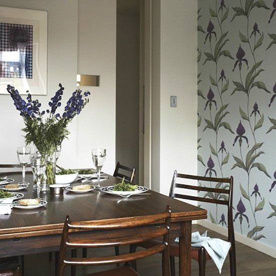 Retro dining room with feature wallpaper | Decorating ...