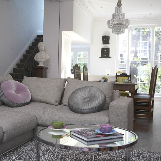 Monochrome living room | Open-plan | Image | Housetohome.co.uk