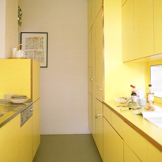 Yellow galley kitchen | Kitchen design | Decorating ideas | Image | Housetohome