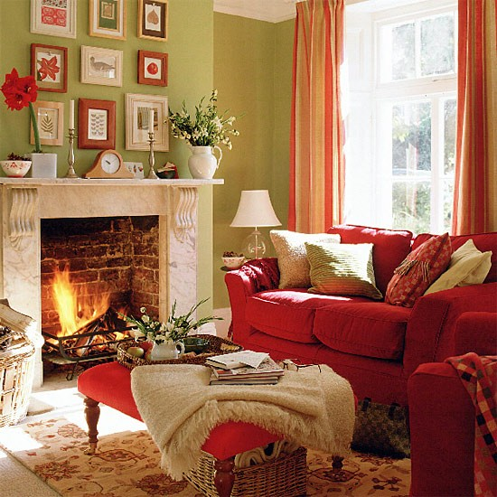 Green Living Room With Red Sofa Stool And Curtains