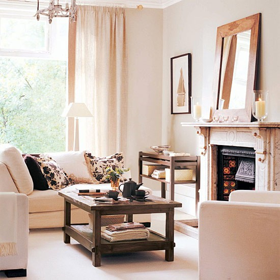 Living Room With Cream And Chocolate Colour Scheme