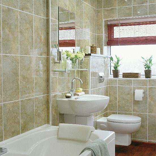 Small bathroom with space saving suite for Small narrow bathroom ideas